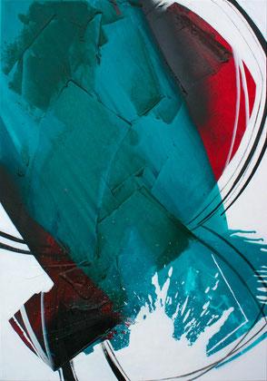 """""""Smaragd #3"""" / Öl und Bitumen auf Leinwand / 70 x 100 cm - € 490,-"""