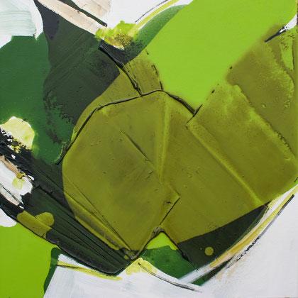 """""""Green leaf #3"""" / Öl und Bitumen auf Leinwand / 50 x 50 cm - € 200,-"""