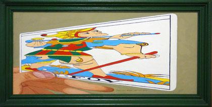 """Visión frontal, distorsionada por anamorfosis, de """"El Loco"""". Témpera sobre tabla, 22,5 x 45cm, 2010"""
