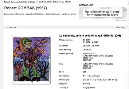 Toujours de très beaux résultats pour Robert Combas lors des ventes aux enchères cette année, ici chez Artcurial en mars 2013