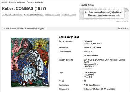 Record de vente pour cette toile de Combas adjugée 130 000 euros (hors frais) chez Cornette de saint Cyr en mars 2013