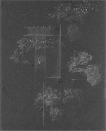 """JOHANNA TIEDTKE, AUS DER SERIE: """"FLORA"""", NADEL AUD SANDPAPIER, 27,9 CM X 22,7 CM, 2021"""