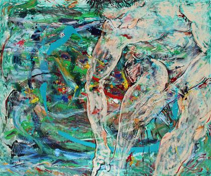 L'Homme et l'Infini, acrylique sur toile, 120 x 100 cm, 2014
