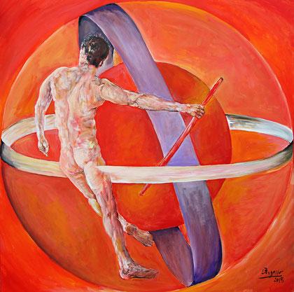 La Planète Rouge - acrylique sur toile, 100 x 100 cm, 2015