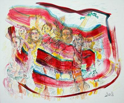 Wouah!, acrylique sur toile, 120 x 100 cm, 2017