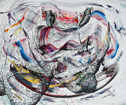 Le Rinocéros, acrylique sur toile, 120 x 100 cm, 2017