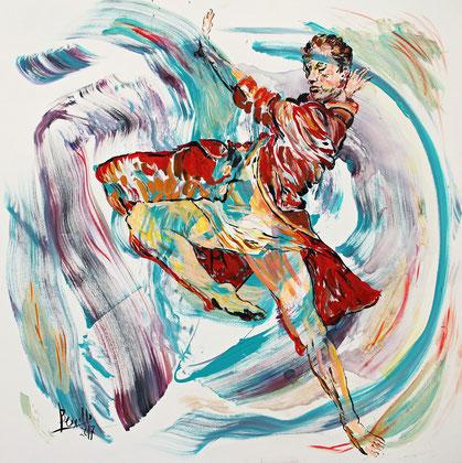 La Danse du Temps, acrylique sur toile, 100 x 100 cm, 2017