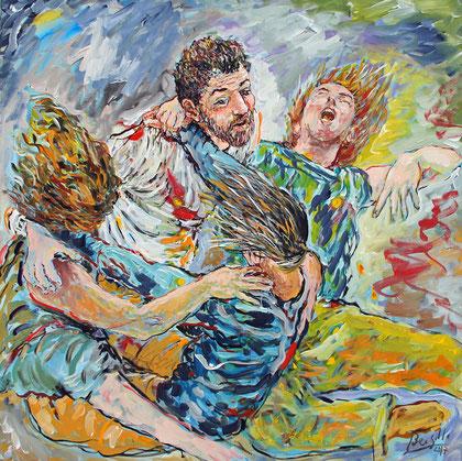 La Ronde du Temps, acrylique sur toile, 100 x 100 cm, 2017