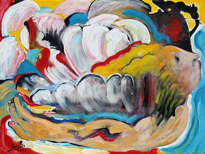L'Ange, acrylique sur toile, 65 x 46 cm, 2016