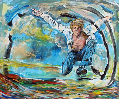 Travers, acrylique sur toile, 120 x 100 cm, 2017