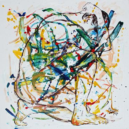 Expansion, acrylique sur toile, 100 x 100 cm, 2017