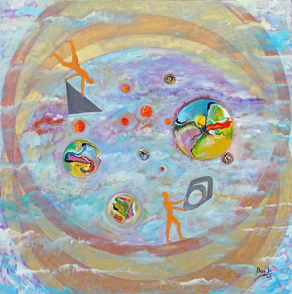 Les Mathématiciens, acrylique sur toile, 100 x 100 cm, 2015