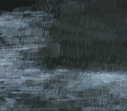 o.T., 2009, 145 x 165cm, Öfarbel, Sprühlack und Marker auf Leinwand