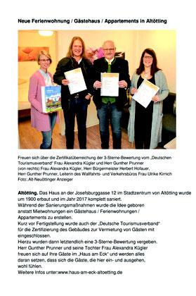 """3-Sterne-Bewertung vom """"Deutschen Tourismusverband"""""""