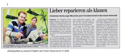 """Artikel aus der """"Freie Presse"""" vom 24.11.09"""