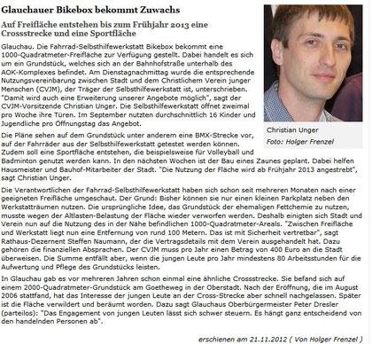 Artikel aus der Freien Presse vom 22.11.2012