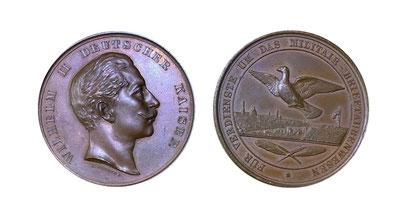 Kaiser Wilhelm II. - Bronzemedaille für Verdienste um das Militair-Brieftaubenwesen