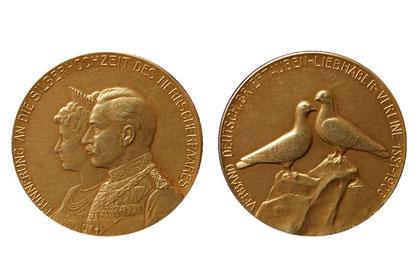 Medaille des Verbandes zur Silberhochzeit des Kaiserpaares in Gold