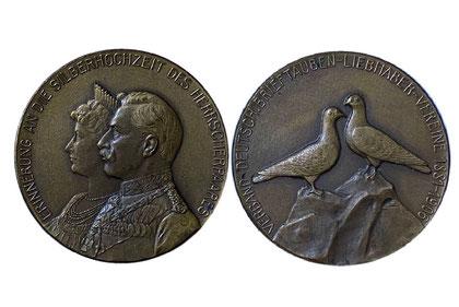 Medaille des Verbandes zur Silberhochzeit des Kaiserpaares in Bronze