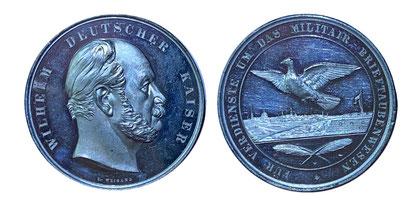 Kaiser Wilhelm I. - Silbermedaille für Verdienste um das Militair-Brieftaubenwesen