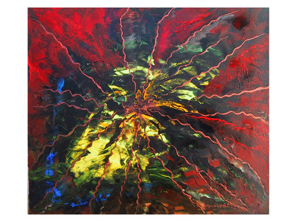 Cosmic radiations - ( private collection)- Acrylic on canvas  80x70 cm  2007