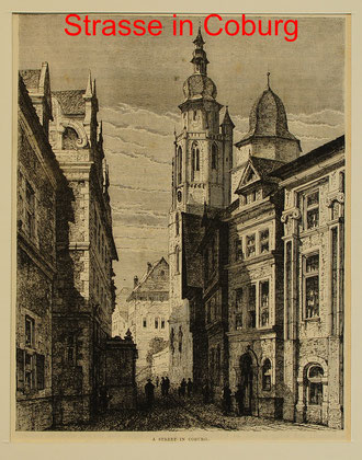 C 93 - Coburg, Straße in, engl. Holzstich um 1870 - 19,5x15 (25,5x18) = 18 EUR