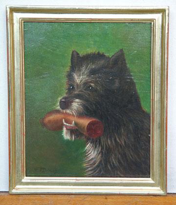 B-18 Hund mit Wurst; Öl auf Holz des bekannten Tier- und Jagdmalers Carl Friedrich D e i k e r; das Gemälde ist signiert und mit einem hell goldenen, selbst gefertigten Rahmen (Polimentvergoldung) gerahmt; Bildmaß: 30,5x25,5 cm; Preis: 430,-- EUR