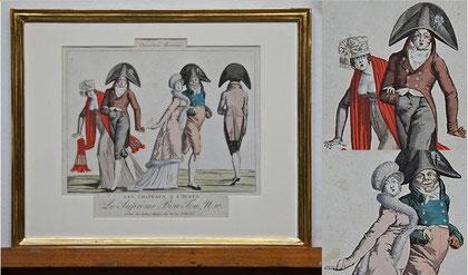 """B- """"Caricatures Parisiennes – LES CHAPEAUX A L´ IRATO"""", Altkolorierte Radierung aus der Serie Le Supreme Bon Ton, Blattgoldrahmen, mit Museumsglas; nicht störende Stockfecken außerhalb der Darstellung; Bildmaß: 29,5x36 cm; Preis: 390,-- EUR"""