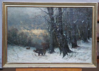 B-19 Winterlandschaft mit Wildschweinen, Öl auf Leinwand des Düsseldorfer Malers Arthur Bell(1876-1966); gerahmt in einem selbst gefertigten warmtonigen Weißgoldrahmen (Polimentvergoldung); Bildmaß: 45.5x65 cm, Preis: 870,-- EUR