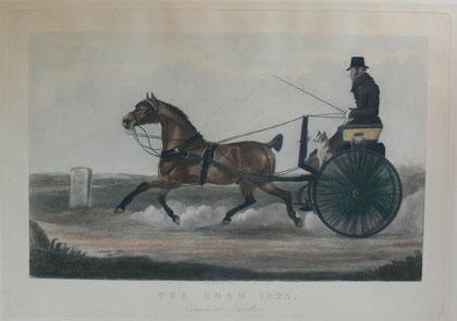 """B-21 """"THE ROAD 1825 - Commercial Traveller"""" Altkolorierte, exellent erhaltene Aquatintaradierung ohne Autorenangabe, verlegt in London, OWEN BAILEY, 22 NEWMAN STREET - Blattgröße: 55,5 x 78.3 cm; Darstellungsgröße: 41 x 66,5 cm. Preis: 435.-- EUR"""