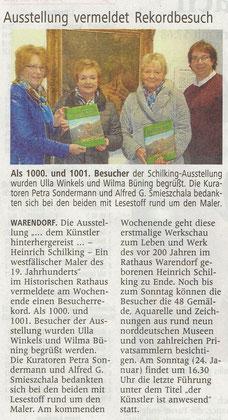 Zeitungsbericht aus den WN: 19.01.2016 Warendorf und Kultur