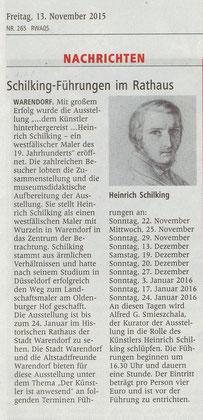 Zeitungsausschnitt aus den WN: 13.11.2015 Warendorf und Kultur