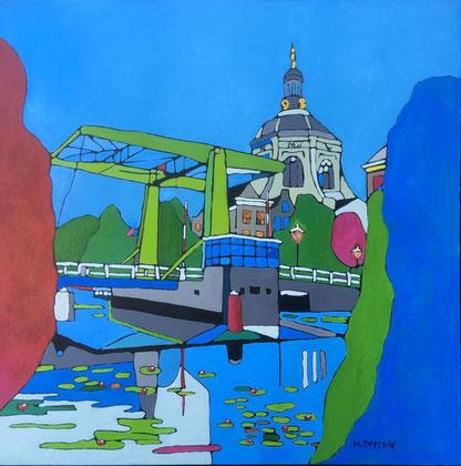 te koop 600 euro Leiden acryl op doek 100 bij 100 cm