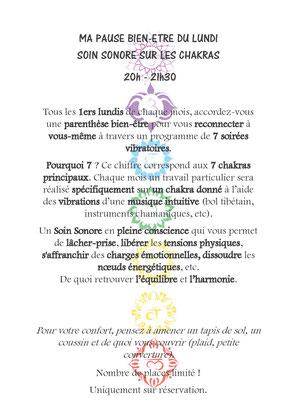 Nouveauté à Ensisheim! Soin Sonore sur les Chakras tous les 1ers Lundis de chaque mois.