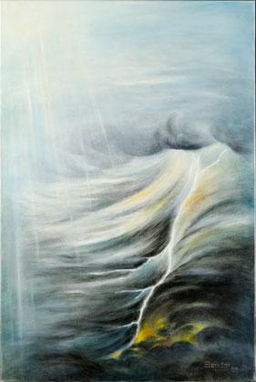 TRIPTYCHON (Nach Goethe, Faust I, Prolog im Himmel)2005, Öl auf Leinwand, 80 cm x 120 cm