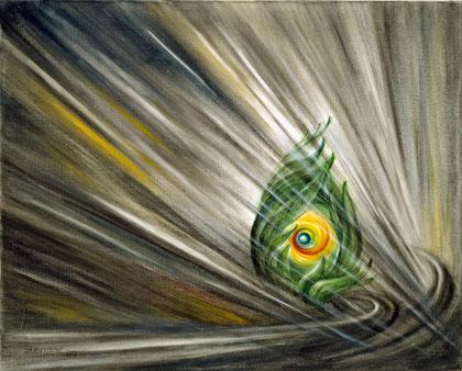 GEBORGEN 1989, Öl auf Leinwand, 75 x 60 cm