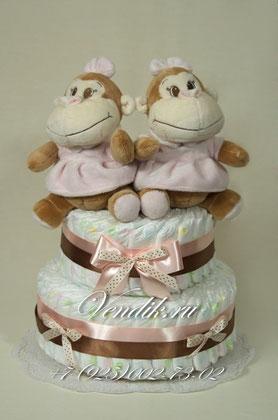 """Торт из памперсов подарок для двойняшек """"Весёлые малышки мартышки"""""""