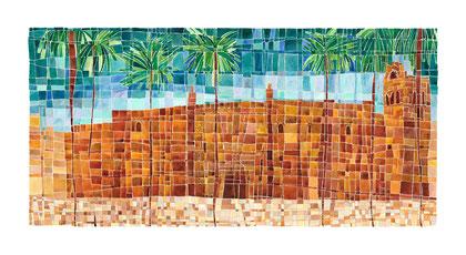 La Catedral- Tinta acrílica y acuarela-35x63, 585 cm.