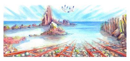Arrecife Sirenas, Técnica Mixta 65x30,46 cm.