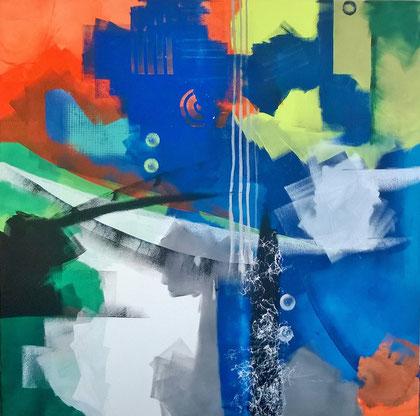 100 x 100 cm , 2015 , Colour roller II , Acryl auf Leinwand