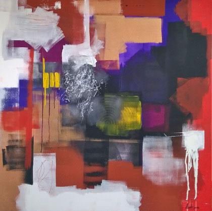 100 x 100 cm , 2015 , Colour roller I , Acryl auf Leinwand