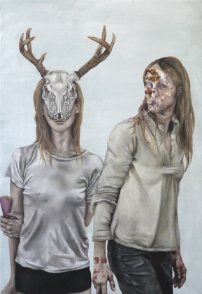 "LYDIA BALKE  ""MY DEER""  2016   160 X 110 CM  OIL ON CANVAS"