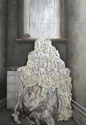 "LYDIA BALKE ""INCARNATION OF META-PETER""  2015   240 X 166 CM   OIL ON CANVAS"