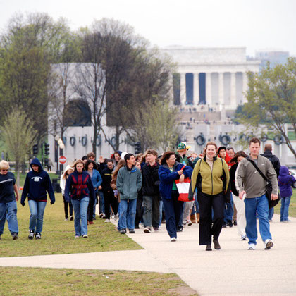 Crowds on the National Mall with II World War Memorial and Lincoln Memorial in background