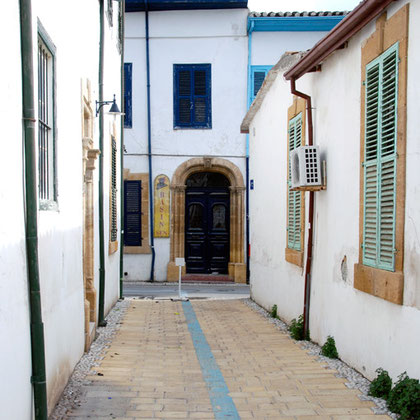 Town houses in Arabahmet, the old Armenian quarter of North Nicosia restored as part of the EU Masterplan for North and South Cyprus.