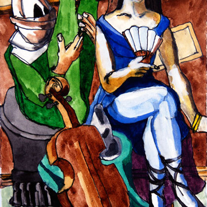Study of Beckmann's 'Carnival' 1925 (2008) (Watercolour) (21x14)