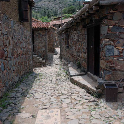 Village street and houses under restoration, Fikardou
