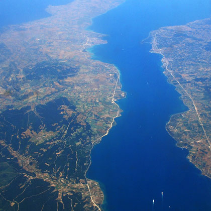 Bosphorus and Gallipoli on left