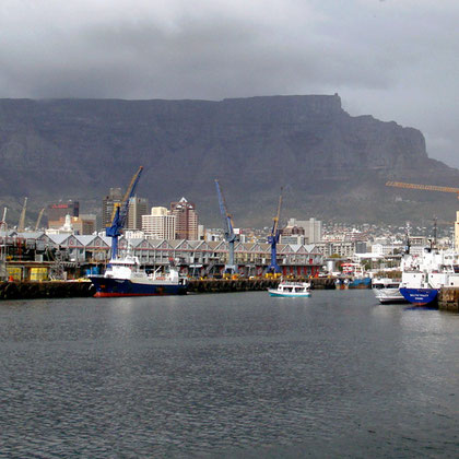 Heading out of the Victoria Basin, the Collier Jetty to the right, Cape Town Harbour (c) Peg Murray Evans