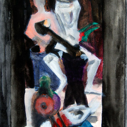 Study from Beckmann's 'Departure' - Centre Panel 2008 (Watercolour and Pen) (21x14)